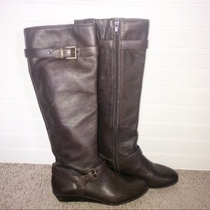 Arturo Chiang Brown Leather Rider Boots Size 6m